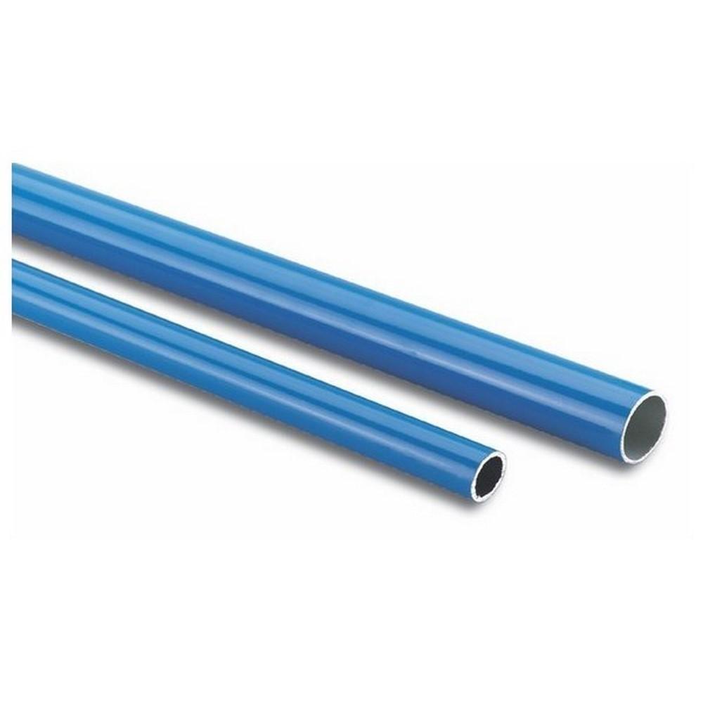 Tubo azul y perfiles de aluminio