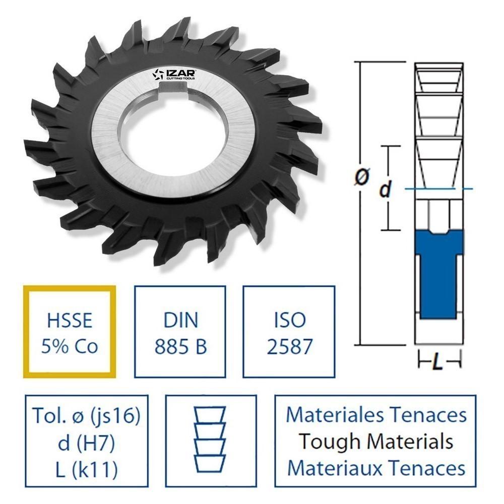 Fresas agujero hsse DIN885b 3 cortes dentado recto