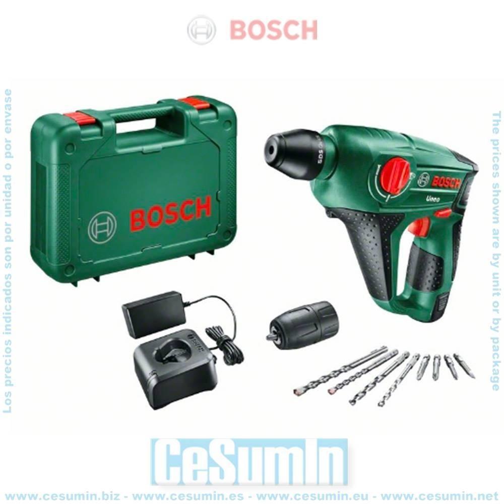 Bosch 060398400D Martillo perforador a batería 3 en 1 Uneo 12V 2,5Ah SDS-Quick + batería 2,5Ah + cargador + maletín