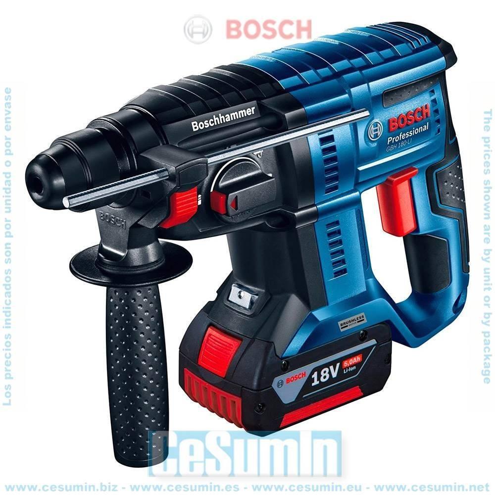 Bosch 0611911003 Martillo perforador a batería GBH 18V-20 SDS Plus 1,7J + 2 baterías 5,0Ah + cargador AL 1860 CV + maletín