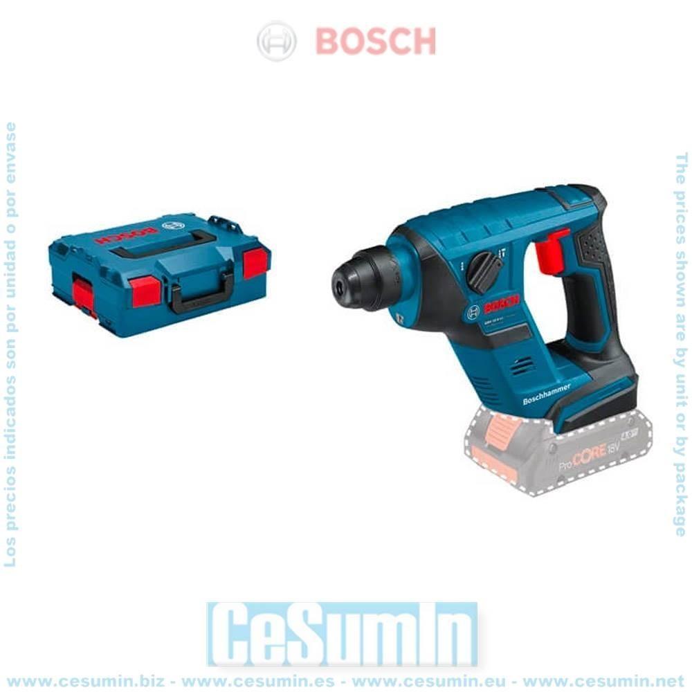 Bosch 0611905304 Martillo perforador a batería GBH 18V-LI Compact SDS Plus 1J 4950ipm + L-Boxx sin batería ni cargador
